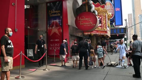 an exterior view as madame tussaud's new york re-opens to the public during phase 4 of re-opening following restrictions imposed to slow the spread... - madame tussauds stock videos & royalty-free footage