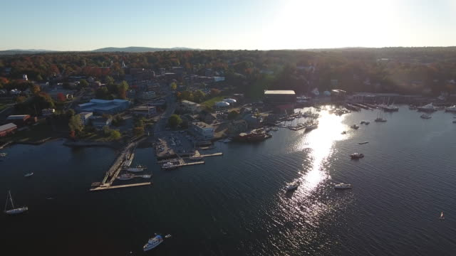 An eye-catching aerial view of the classic American town of Belfast, Maine, USA