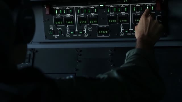 an f35b lightning ii stealth fighter conducts an aerial refueling mission with a drogue attached to a kc135 stratotanker above the south china sea - south china sea stock videos & royalty-free footage