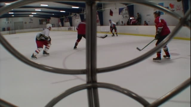 an ice hockey goalie watches as a defenseman clears the puck. - goalkeeper stock videos & royalty-free footage