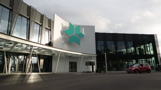an illuminated logo stands above the entrance to the kreisel electric gmbh research center and battery assembly plant in rainbach austria on monday... - traditionally austrian stock videos & royalty-free footage