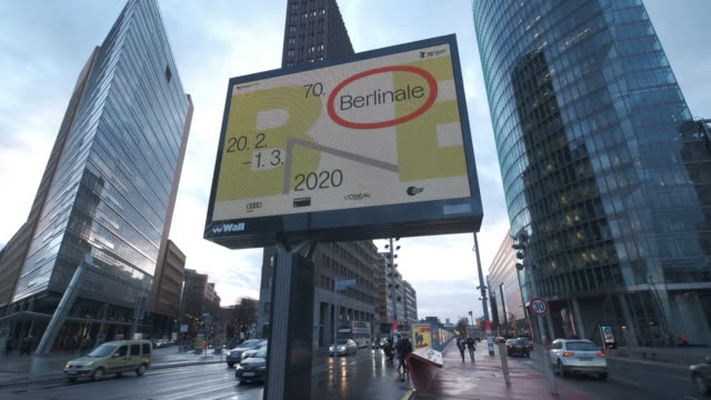 an illuminated poster advertises the 70th berlinale international film festival two days before the festival opening on february 18 2020 in berlin... - festival poster stock videos & royalty-free footage