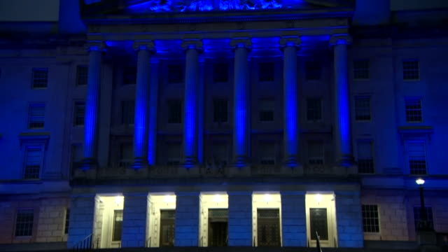 an illuminated stormont at night - male likeness stock videos & royalty-free footage