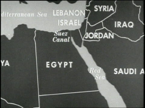 an illustrated map highlights egypt and surrounding middle eastern countries - 1958 stock videos & royalty-free footage