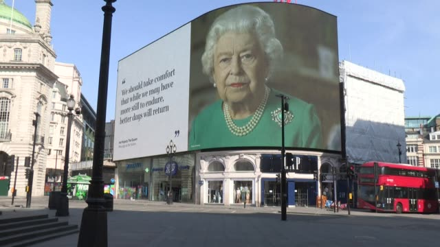 an image of queen elizabeth ii and quotes from her speech to the nation during the coronavirus outbreak are being broadcast twice a day from the... - royalty stock videos & royalty-free footage