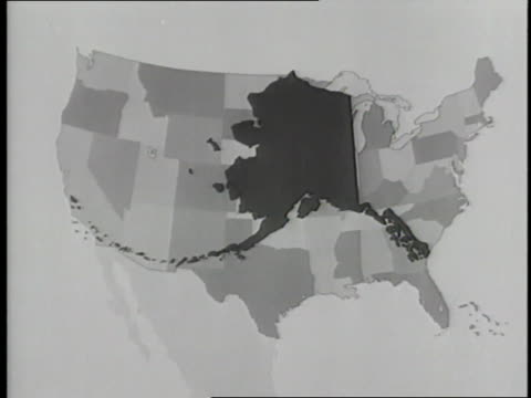 an image of the state of alaska appears over a map of the united states - 1950 1959 stock videos & royalty-free footage