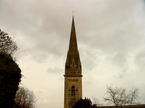 an impressive spire dominates llandaff cathedral. - spire stock videos & royalty-free footage
