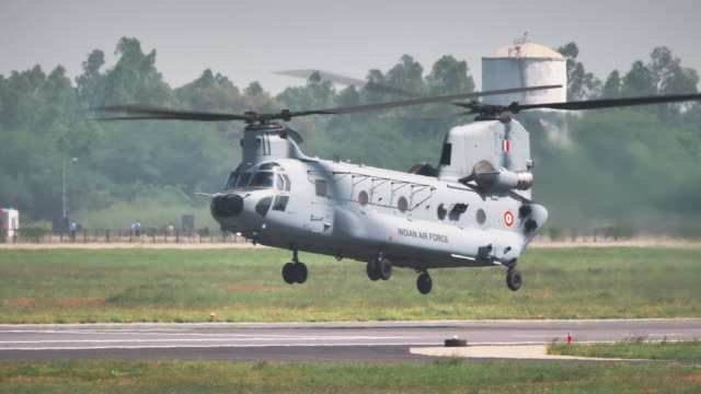an indian air force brand new chinook helicopter - luftwaffe stock-videos und b-roll-filmmaterial