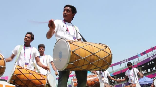 An Indian band rehearses as they prepare to drum up support for the cricket teams playing in the World Twenty20 tournament