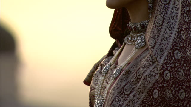an indian woman with a bindi wears a traditional shawl and jewelry. - bindi stock videos and b-roll footage