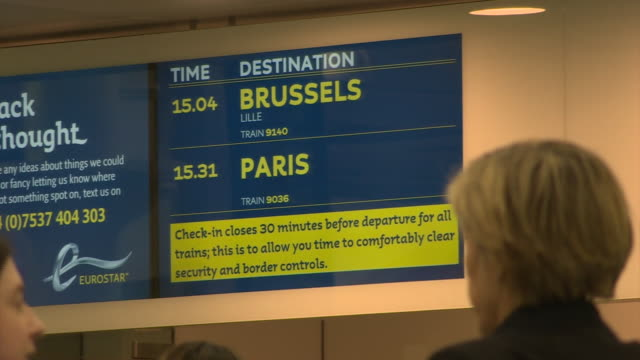 An information board in St Pancras train station showing Brussels as a destination on the day of the terror attacks