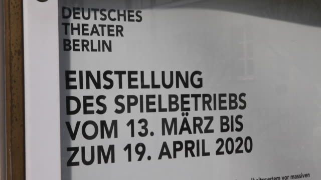 an information sheet indicates that the german theatre in berlin ceases to operate on march 16 2020 in berlin germany everyday life in germany has... - unterhaltungsveranstaltung stock-videos und b-roll-filmmaterial