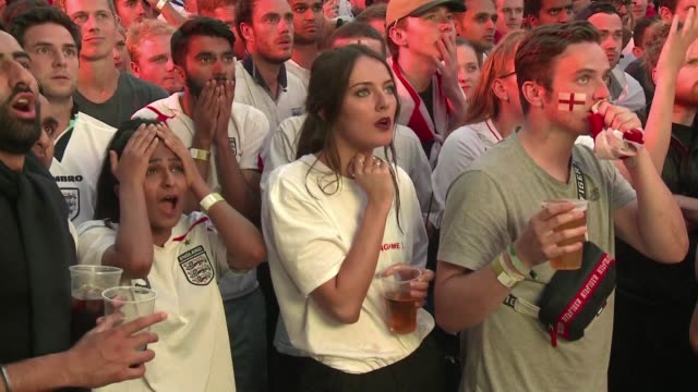 an initial wave of elation turns to heartbreak as fans in london watch england lose an early lead in the world cup semi final against croatia... - england stock videos & royalty-free footage