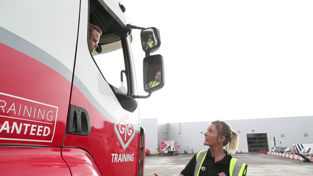 an instructor natasha hastie guides a heavy goods vehicle learner driver simon peters during a training session at gtg training in wolverhampton, uk... - mirror stock videos & royalty-free footage