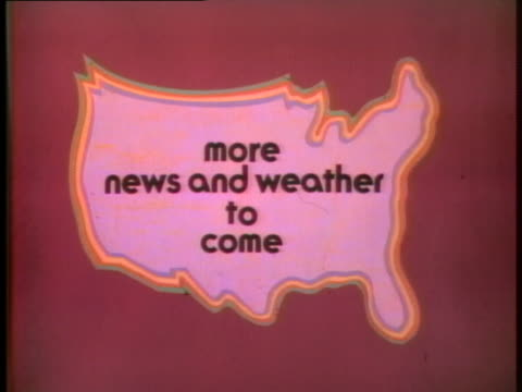 "an intertitle stating ""more news and weather to come"" is displayed as text over an outline of the usa. - television show stock videos & royalty-free footage"
