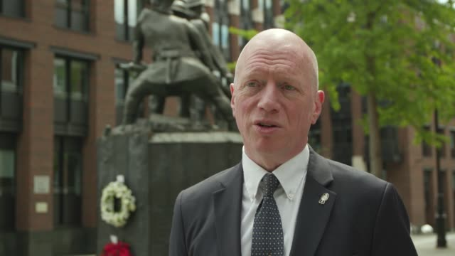 an interveiw with matt wrack fbu general secretary after he laid a wreath at the national firefighters' memorial at st paul's in london as fire... - midday stock videos & royalty-free footage