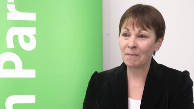 an interview with caroline lucas coleader of the green party at their brexit policy launch event in hackney - green party stock videos and b-roll footage