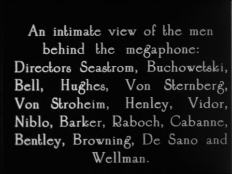 """b/w 1925 slate: """"an intimate view of the men behind the megaphone..."""" / documentary - 1925 stock videos & royalty-free footage"""