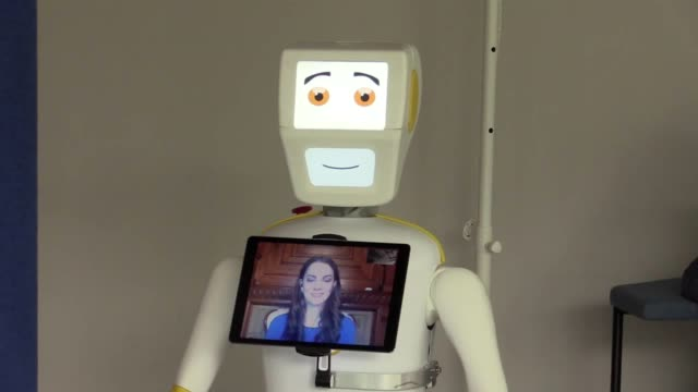 an irish university has developed a robot to help battle loneliness amongst the elderly and those living in care homes. engineers from trinity... - assistive technology stock videos & royalty-free footage