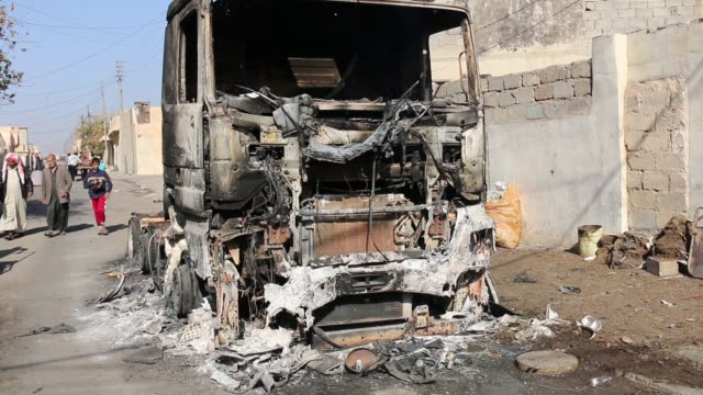 an isis truck hit by a coalition air strike inside eastern mosul the vehicle was destroyed just before the iraqi special operation forces [isof]... - terrorism stock videos & royalty-free footage