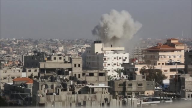 an israeli airstrike damages a building in rafah in the southern gaza strip - gaza strip stock videos & royalty-free footage