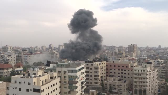 an israeli airstrike hits gaza city - gaza city stock videos & royalty-free footage
