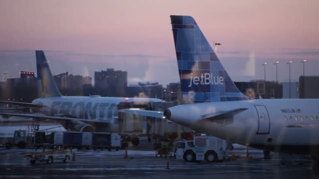 vidéos et rushes de an jet blue employee assists a traveler at the checkin counter at ronald reagan national airport in washington dc us on thursday jan 23 various jet... - aéroport ronald reagan