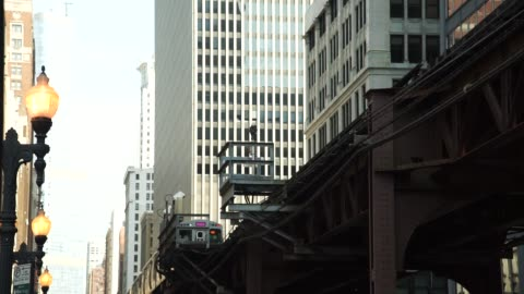 an l train passes in chicago, il on thursday september 21, 2017. photographer: christopher dilts - shots: shot from below of l train passing overhead... - chicago 'l' stock videos & royalty-free footage