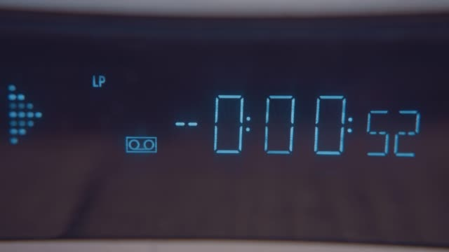 an lcd display on an old vhs video player on july 21 2020 - retro style stock videos & royalty-free footage