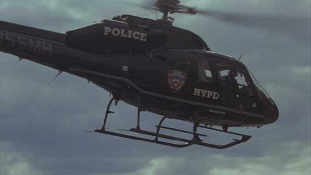 An NYPD helicopter taking off.