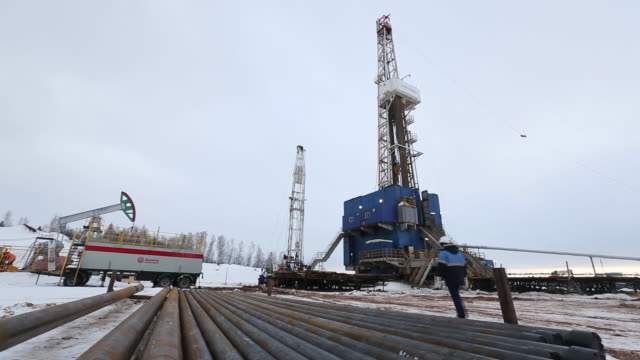 An oil drilling rig operated by Tatneft PJSC on an oilfield near Almetyevsk Tatarstan republic Russia on Wednesday March 6 2019