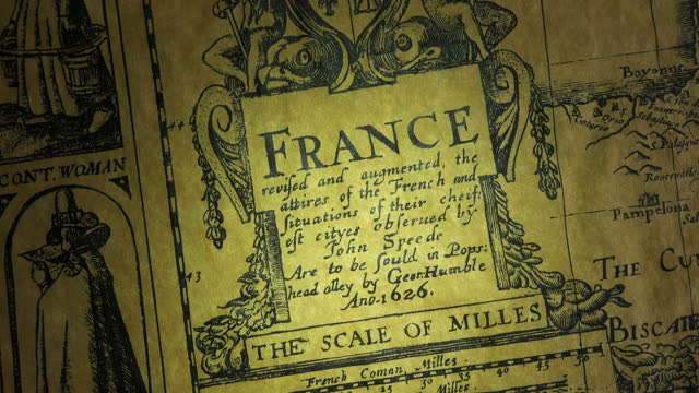an old 17th century map dated 1626 of france. - art and craft stock videos & royalty-free footage