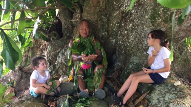 an old aged pacific island man explains about the noni fruit juice benefits to two tourist girls - eco tourism stock videos & royalty-free footage