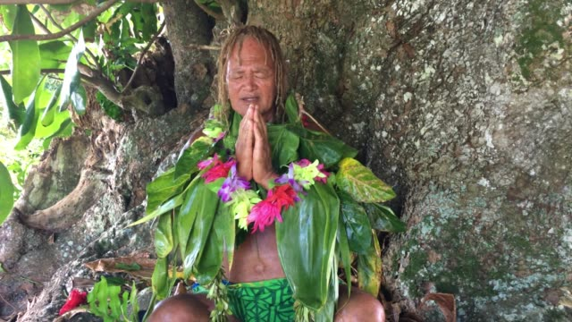 An old aged Pacific Islander man praying under a rain forest tree