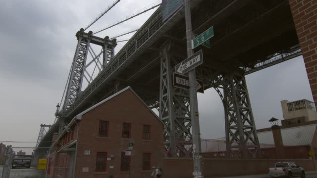an old brick building sits underneath the williamsburg bridge in brooklyn. s 6th and kent - western script stock videos & royalty-free footage