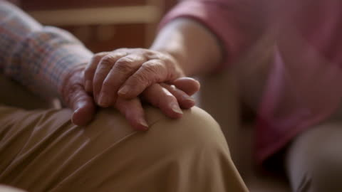an old couple holding hands - husband stock videos & royalty-free footage