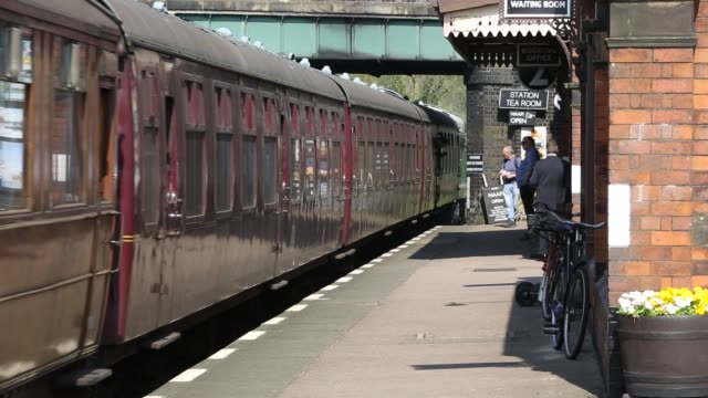 an old diesel train running at quorn and woodhouse station on the great central railway, leicestershire, uk. - engine stock videos & royalty-free footage