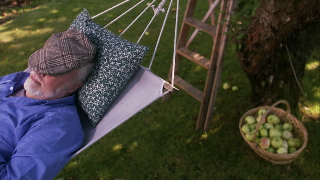vidéos et rushes de an old man in a hammock sweden. - hamac