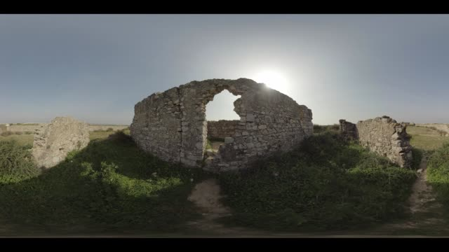 an old ruin in portugal - monoscopic image stock videos & royalty-free footage