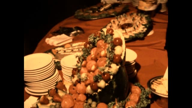 an old school buffet from a wedding in the 1980's - gelatin stock videos and b-roll footage