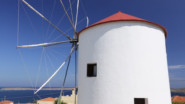 An old windmill converted into a house in Sigri on Lesvos, Greece.