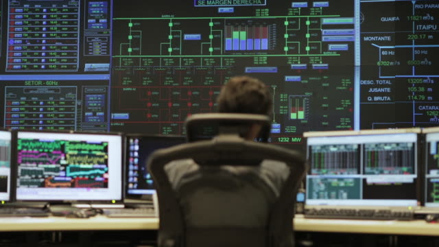 """ws an operator sits in the transmission control room of itaipu binacional dam / foz do iguacu, brazil"" - control stock videos & royalty-free footage"