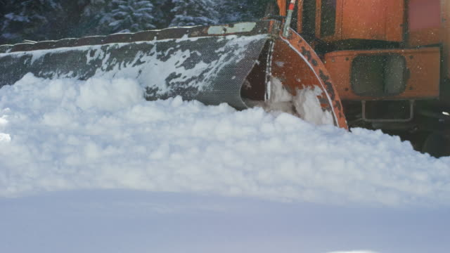 an orange tractor plows deep snow next to a forest in winter - snowplough stock videos & royalty-free footage
