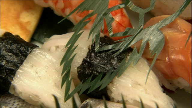 an orchid leaf cut into a turtle pattern provides an unusual garnish. - nigiri stock videos and b-roll footage