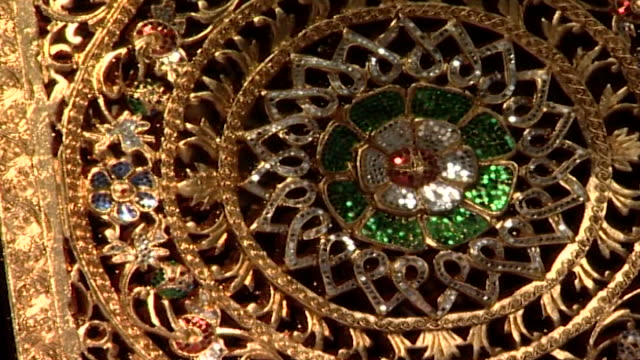 of an ornately carved and intricately bejeweled wooden screen. - metalwork stock videos & royalty-free footage