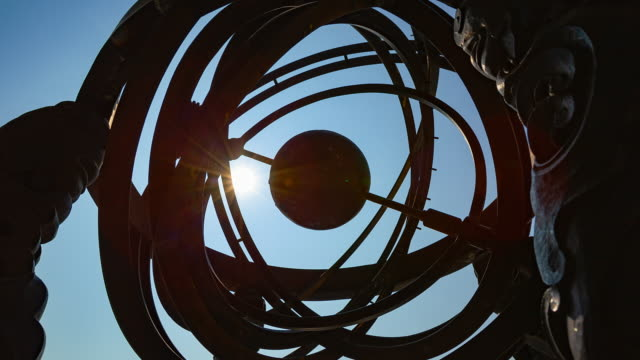 an outdoor sculpture of honcheonui (korean armillary sphere) - constellation stock videos & royalty-free footage