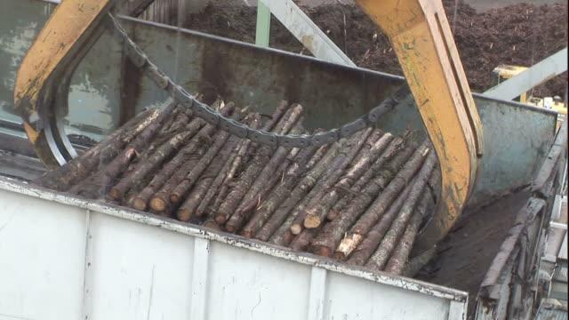 An overhead crane loads logs into a hopper at a paper mill.