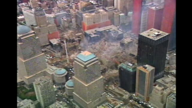 stockvideo's en b-roll-footage met an overhead shot of the destruction at ground zero after the attacks on september 11th - aanslagen op 11 september 2001