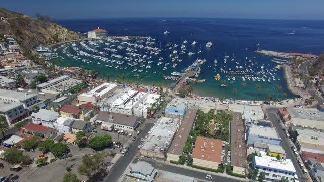 An overview of the city of Avalon from above. The famous Catalina Island Casino sits in the background.