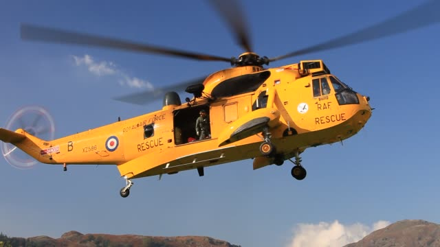 An RAF search and rescue Sea King helicopter, in Ambleside, Lake District, UK.